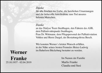 Traueranzeige für Werner Franke vom 01.06.2019 aus Schaumburger Nachrichten