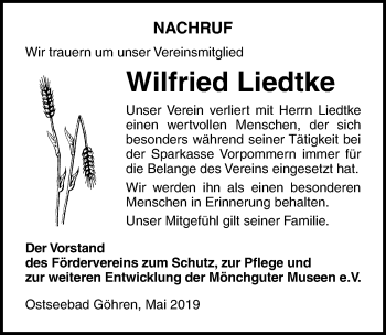 Traueranzeige für Wilfried Liedtke vom 01.06.2019 aus Ostsee-Zeitung GmbH
