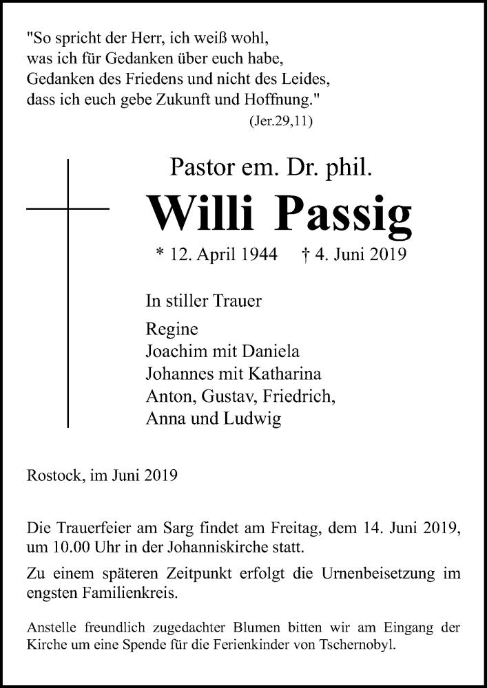 Traueranzeige für Willi Passig vom 08.06.2019 aus Ostsee-Zeitung GmbH
