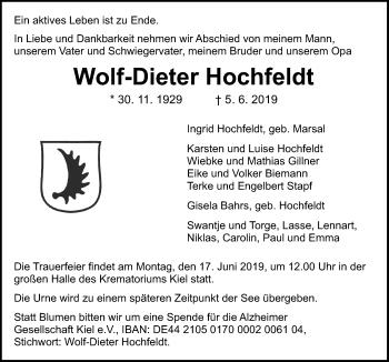 Traueranzeige für Wolf-Dieter Hochfeldt vom 08.06.2019 aus Kieler Nachrichten
