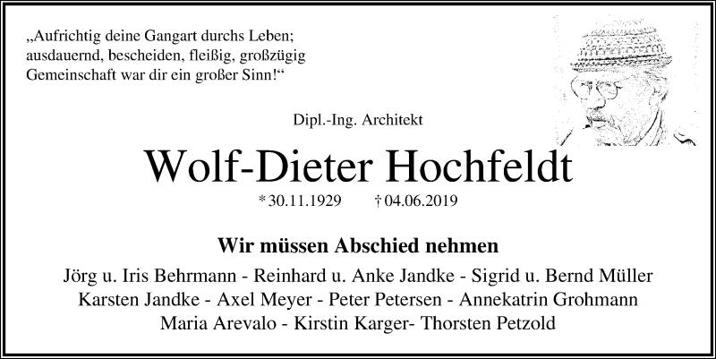 Traueranzeige für Wolf-Dieter Hochfeldt vom 15.06.2019 aus Kieler Nachrichten