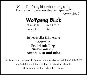 Traueranzeige für Wolfgang Bildt vom 21.05.2019 aus Kieler Nachrichten