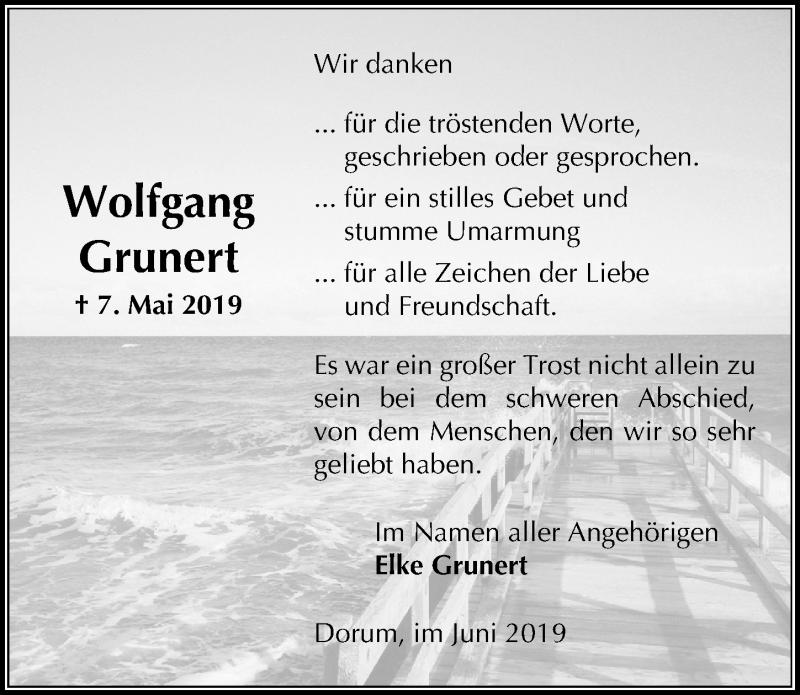 Traueranzeige für Wolfgang Grunert vom 22.06.2019 aus Peiner Allgemeine Zeitung
