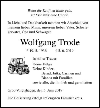 Traueranzeige für Wolfgang Trode vom 08.06.2019 aus Ostsee-Zeitung GmbH
