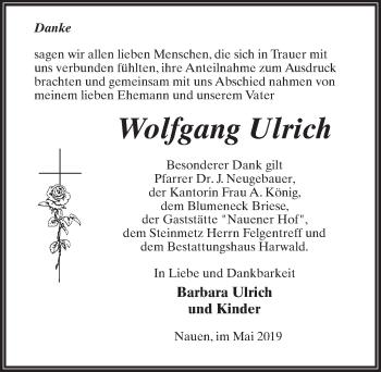 Traueranzeige für Wolfgang Ulrich vom 01.06.2019 aus Märkischen Allgemeine Zeitung