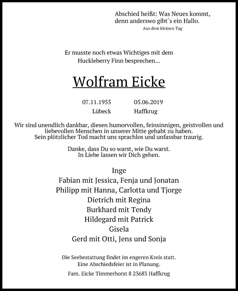 Traueranzeige für Wolfram Eicke vom 09.06.2019 aus Lübecker Nachrichten