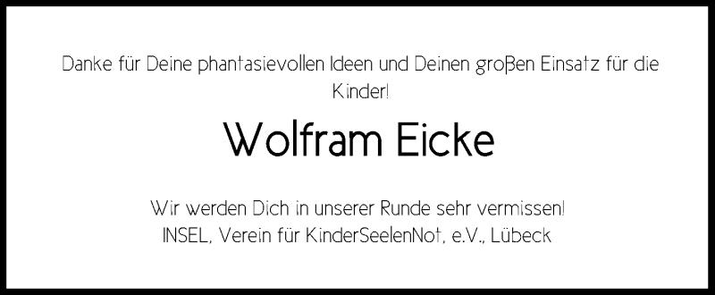 Traueranzeige für Wolfram Eicke vom 16.06.2019 aus Lübecker Nachrichten
