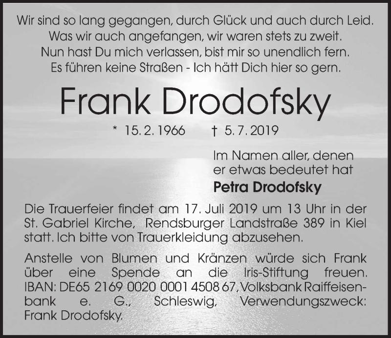 Traueranzeige von  Frank Drodofsky
