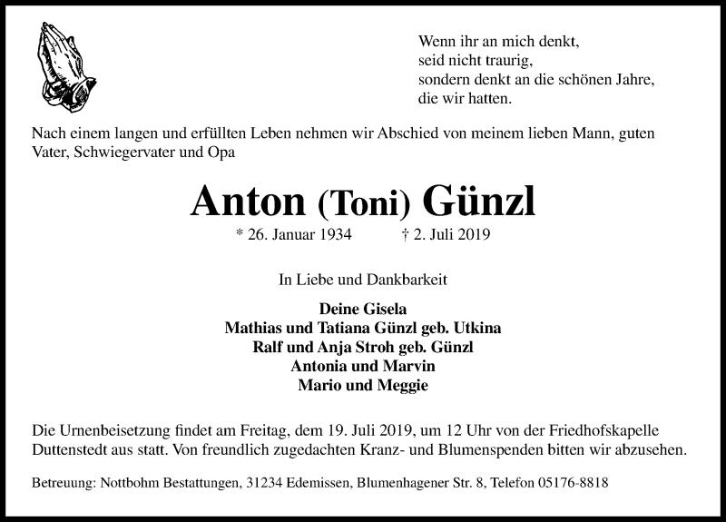 Traueranzeige von  Anton Günzl