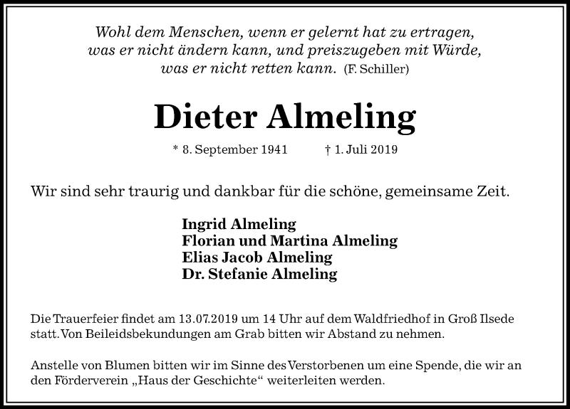 Traueranzeige für Dieter Almeling vom 06.07.2019 aus Peiner Allgemeine Zeitung