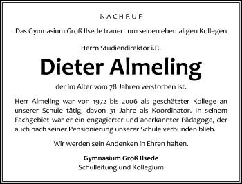 Traueranzeige für Dieter Almeling vom 13.07.2019 aus Peiner Allgemeine Zeitung