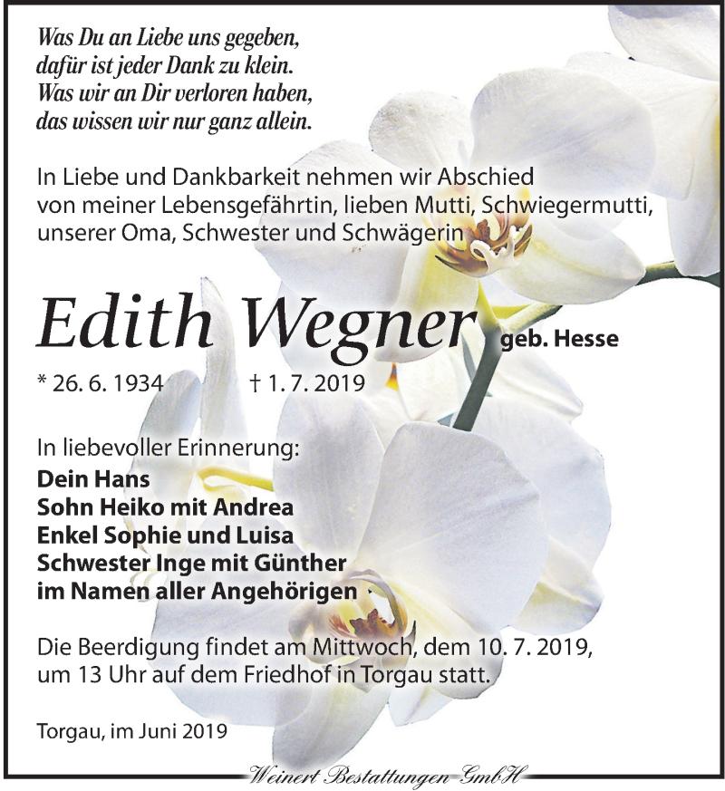Traueranzeige für Edith Wegase vom 06.07.2019 aus Torgauer Zeitung
