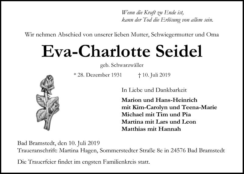 Traueranzeige von  Eva-Charlotte Seidel