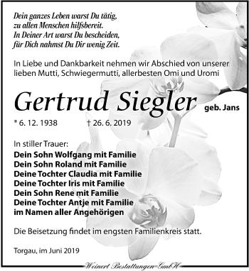 Traueranzeige für Gertrud Siegler vom 06.07.2019 aus Torgauer Zeitung