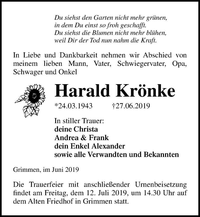Traueranzeige für Harald Krönke vom 09.07.2019 aus Ostsee-Zeitung GmbH