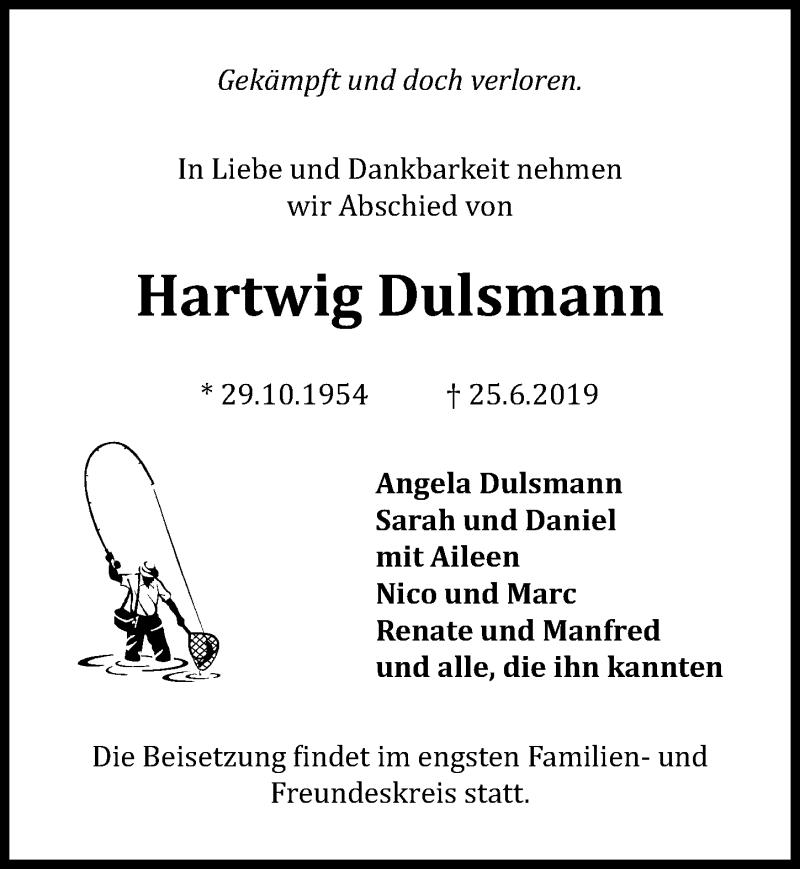 Traueranzeige für Hartwig Dulsmann vom 02.07.2019 aus Peiner Allgemeine Zeitung