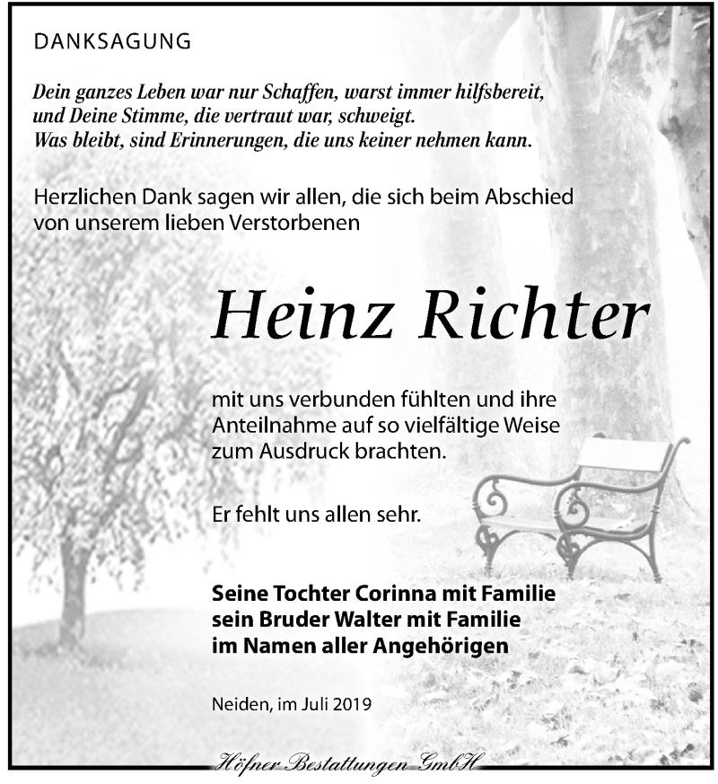 Traueranzeige für Heinz Richter vom 13.07.2019 aus Torgauer Zeitung