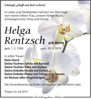 Traueranzeige für Helga Rentzsch vom 06.07.2019 aus Torgauer Zeitung