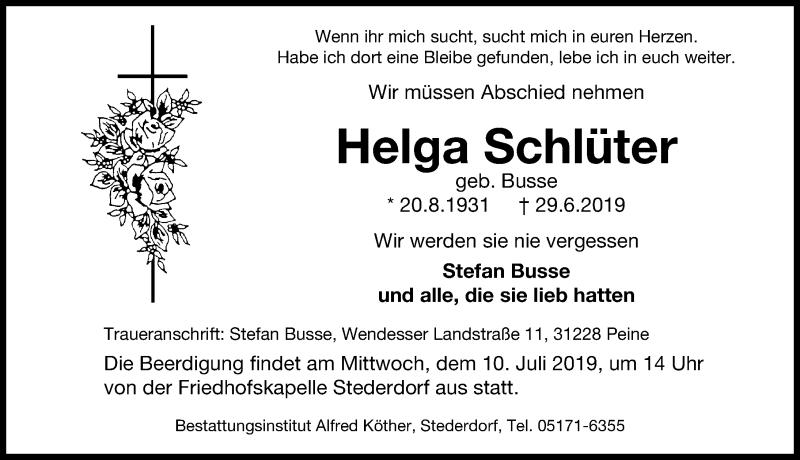 Traueranzeige für Helga Schlüter vom 03.07.2019 aus Peiner Allgemeine Zeitung