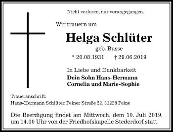 Traueranzeige für Helga Schlüter vom 06.07.2019 aus Peiner Allgemeine Zeitung