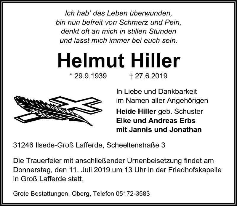 Traueranzeige für Helmut Hiller vom 06.07.2019 aus Peiner Allgemeine Zeitung