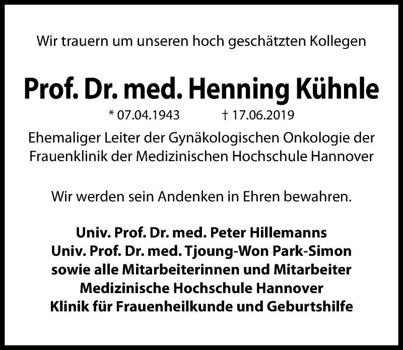 Traueranzeige für Henning Kühnle vom 06.07.2019 aus Hannoversche Allgemeine Zeitung/Neue Presse