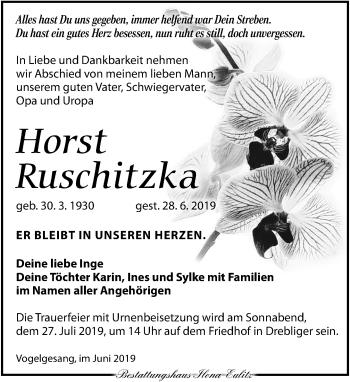 Traueranzeige für Horst Ruschitzka vom 06.07.2019 aus Torgauer Zeitung