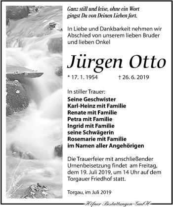Traueranzeige für Jürgen Otto vom 06.07.2019 aus Torgauer Zeitung