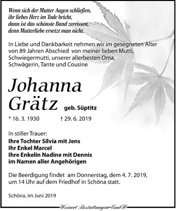 Traueranzeige für Johanna Grätz vom 02.07.2019 aus Torgauer Zeitung