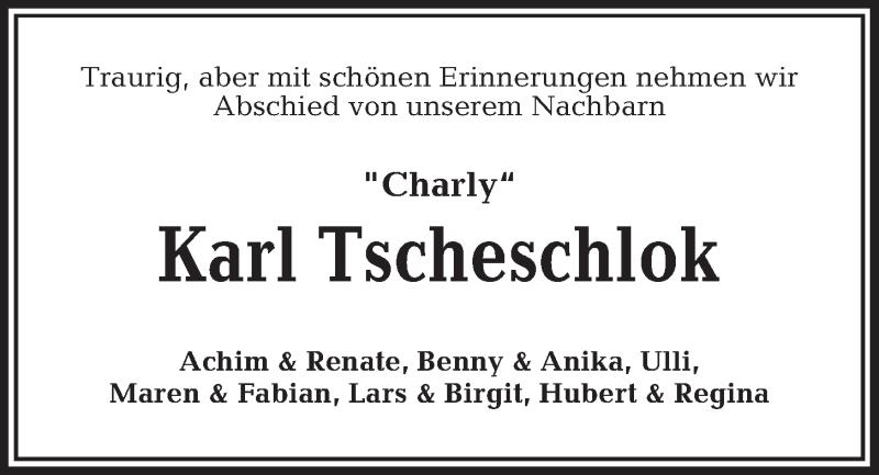 Traueranzeige von  Karl Tscheschlok