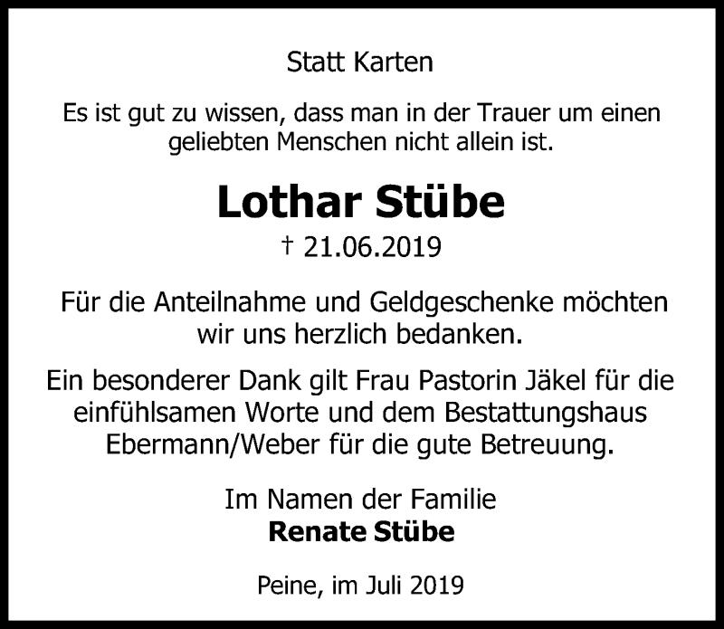 Traueranzeige für Lothar Stübe vom 13.07.2019 aus Peiner Allgemeine Zeitung