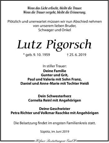 Traueranzeige für Lutz Pigorsch vom 06.07.2019 aus Torgauer Zeitung