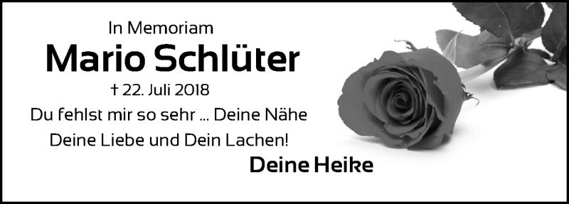Traueranzeige für Mario Schlüter vom 22.07.2019 aus Hannoversche Allgemeine Zeitung/Neue Presse