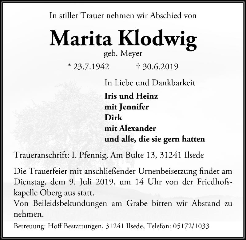 Traueranzeige für Marita Klodwig vom 06.07.2019 aus Peiner Allgemeine Zeitung
