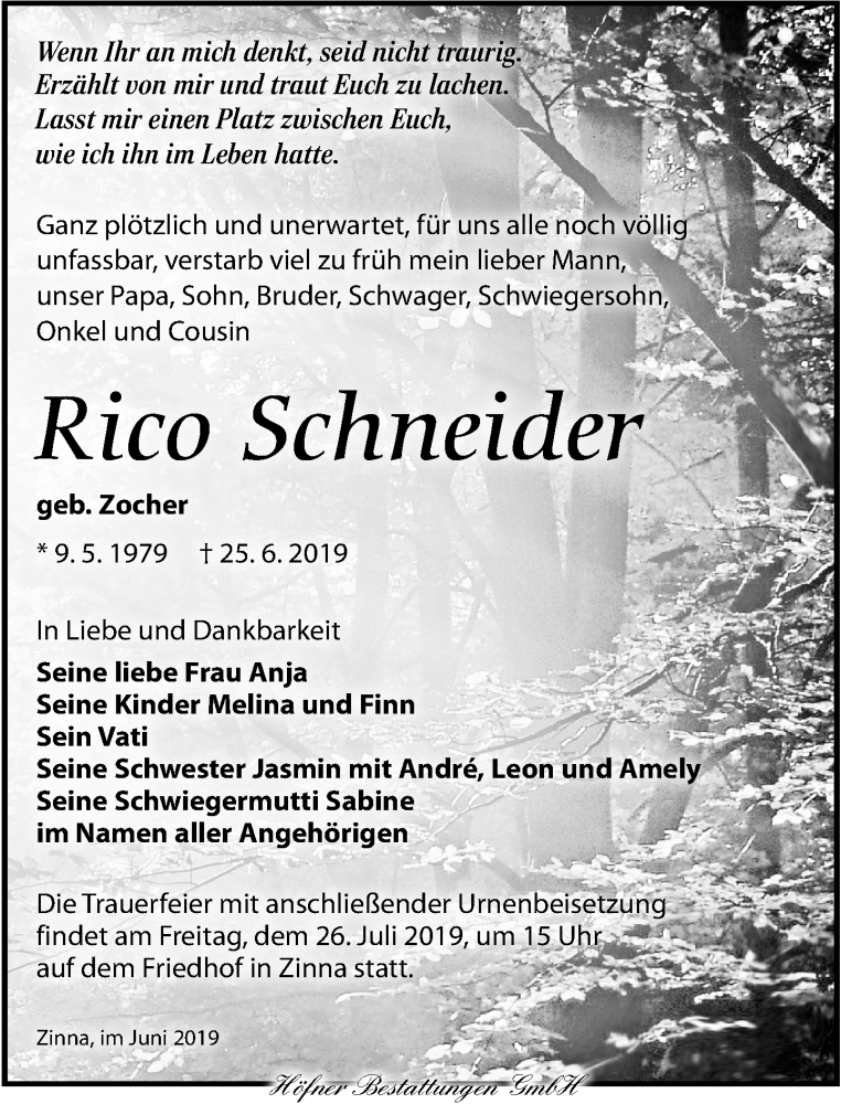 Traueranzeige für Rico Schneider vom 06.07.2019 aus Torgauer Zeitung