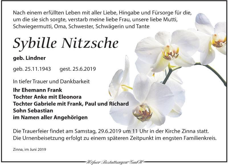 Traueranzeige für Sybille Nitzsche vom 27.06.2019 aus Torgauer Zeitung