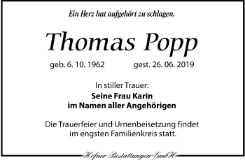 Traueranzeige für Thomas Popp vom 06.07.2019 aus Torgauer Zeitung