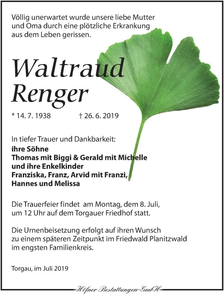 Traueranzeige für Waltraud Renger vom 06.07.2019 aus Torgauer Zeitung