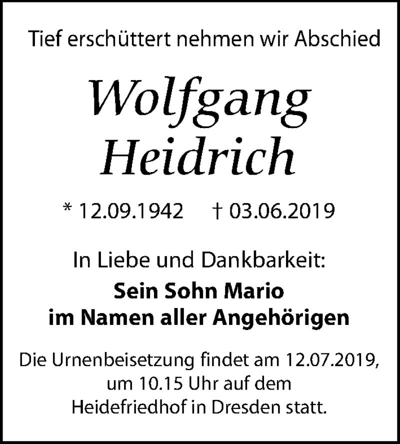 Traueranzeige für Wolfgang Heidrich vom 29.06.2019 aus Leipziger Volkszeitung