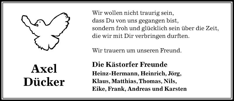 Traueranzeige für Axel Dücker vom 17.08.2019 aus Aller Zeitung