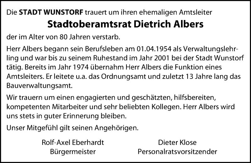Traueranzeige von  Dietrich Albers