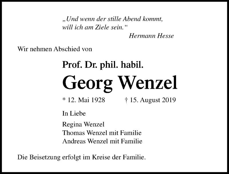 Traueranzeige für Georg Wenzel vom 24.08.2019 aus Ostsee-Zeitung GmbH
