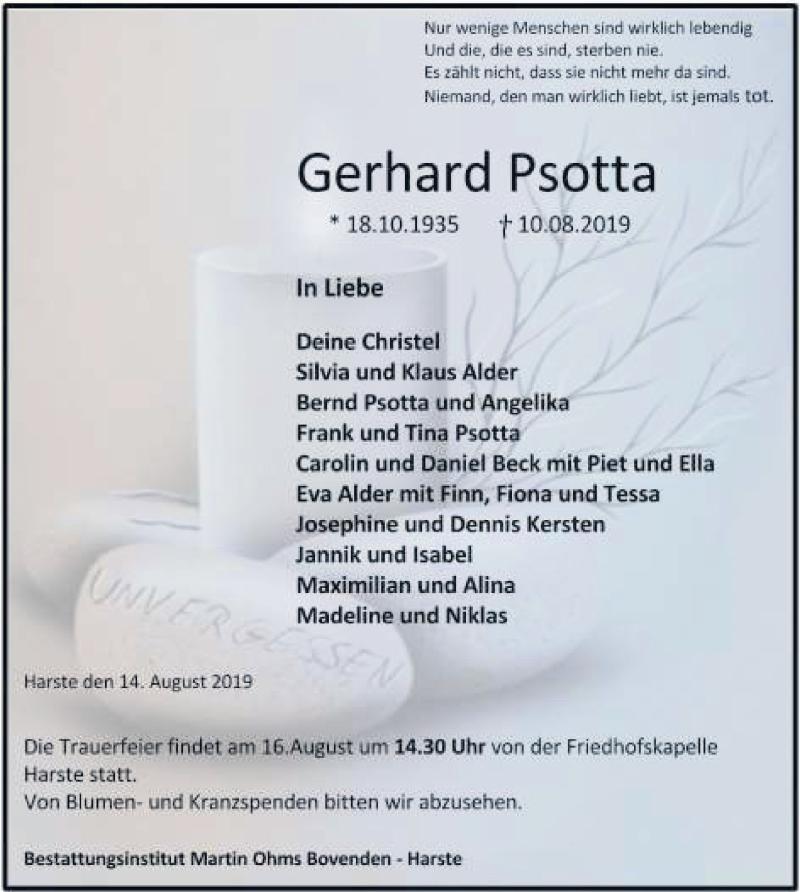 Traueranzeige für Gerhard Psotta vom 14.08.2019 aus Göttinger Tageblatt