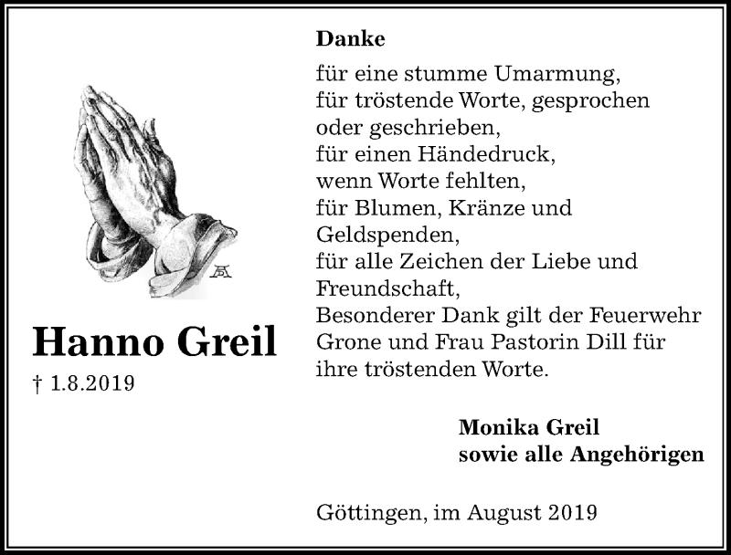Traueranzeige für Hanno Greil vom 24.08.2019 aus Göttinger Tageblatt