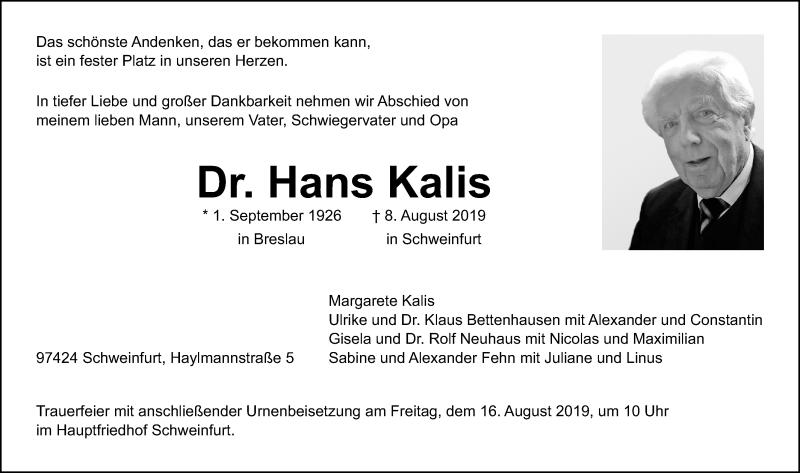 Traueranzeige für Hans Kalis vom 10.08.2019 aus Hannoversche Allgemeine Zeitung/Neue Presse