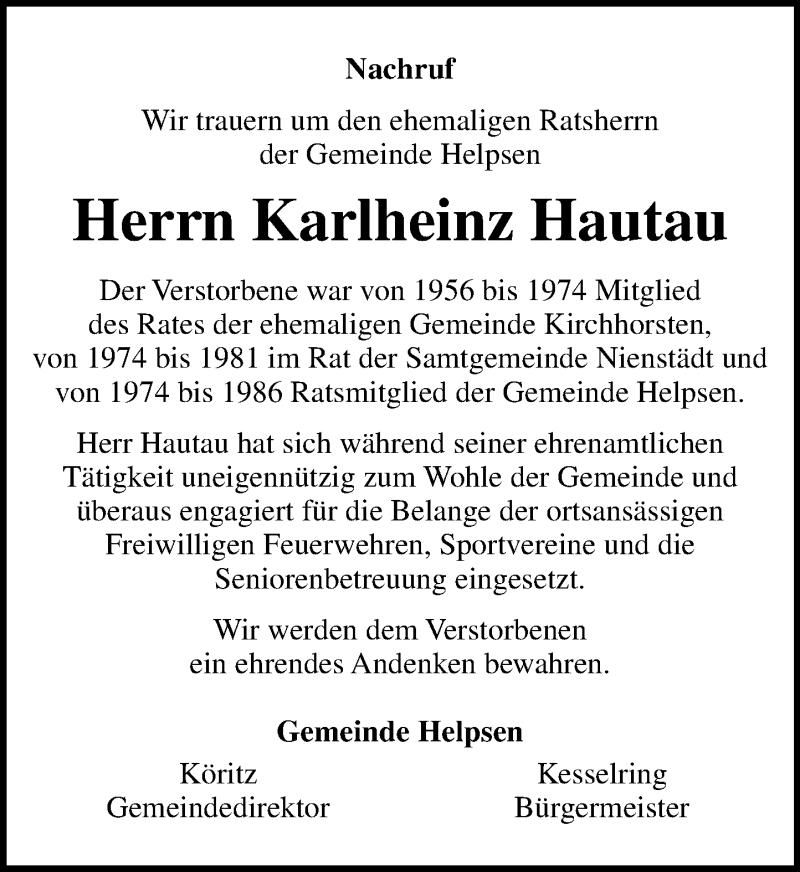 Traueranzeige von  Karlheinz Hautau