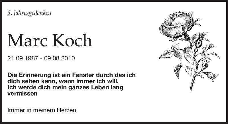Traueranzeige für Marc Koch vom 09.08.2019 aus Leipziger Volkszeitung