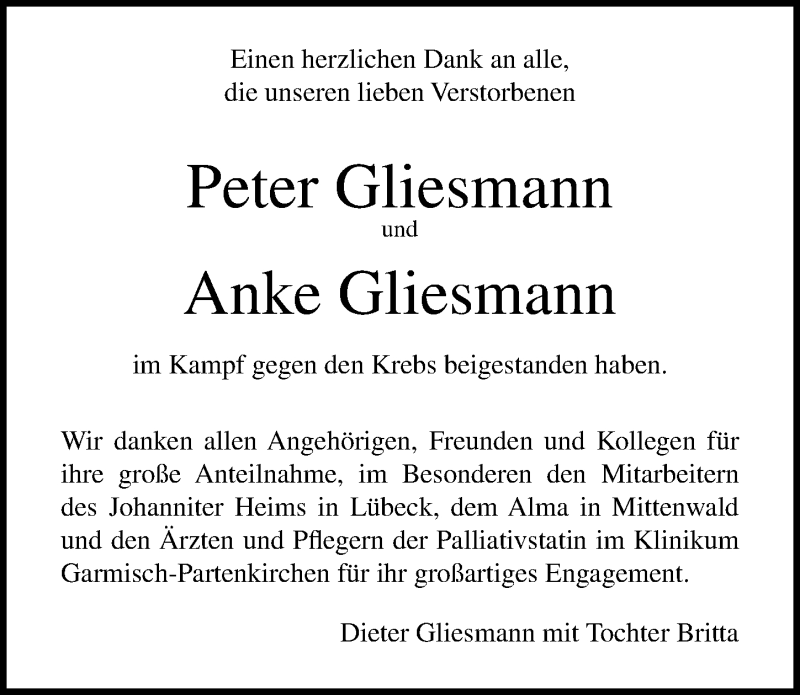 Traueranzeige für Peter Gliesmann vom 11.08.2019 aus Lübecker Nachrichten