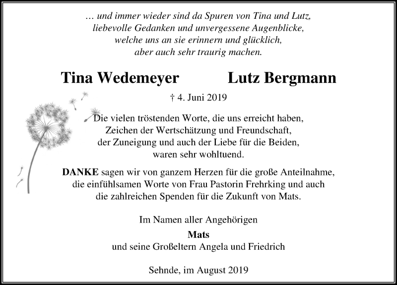 Traueranzeige für Tina Wedemeyer vom 10.08.2019 aus Hannoversche Allgemeine Zeitung/Neue Presse