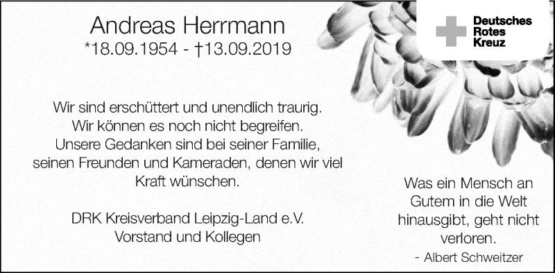 Traueranzeige für Andreas Herrmann vom 28.09.2019 aus Leipziger Volkszeitung